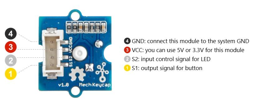 Grove Mech Keycap 全彩 LED 機械按鍵開關模組