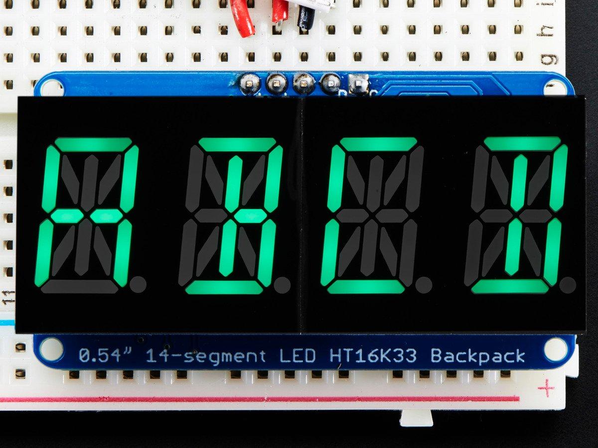 Quad Alphanumeric Display - Pure Green 0.54 Digits w/ Backpack : ID 2160 : .95 : Adafruit Industries, Unique & fun DIY electronics and kits